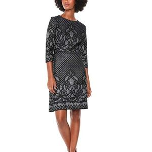 Gabby Skye Fit and flare dress 6 Black Lace Print